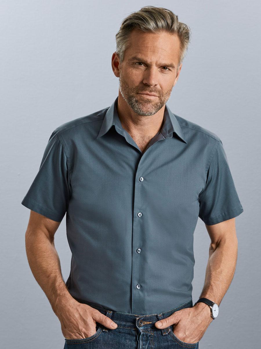 Men's Short Sleeve Polycotton Easy Care Tailored Poplin Shirt