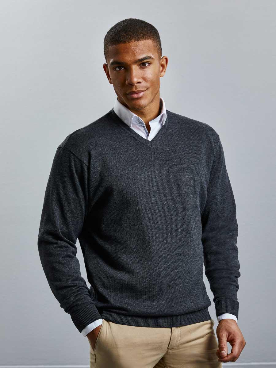 Men's V-Neck Knitted Pullover