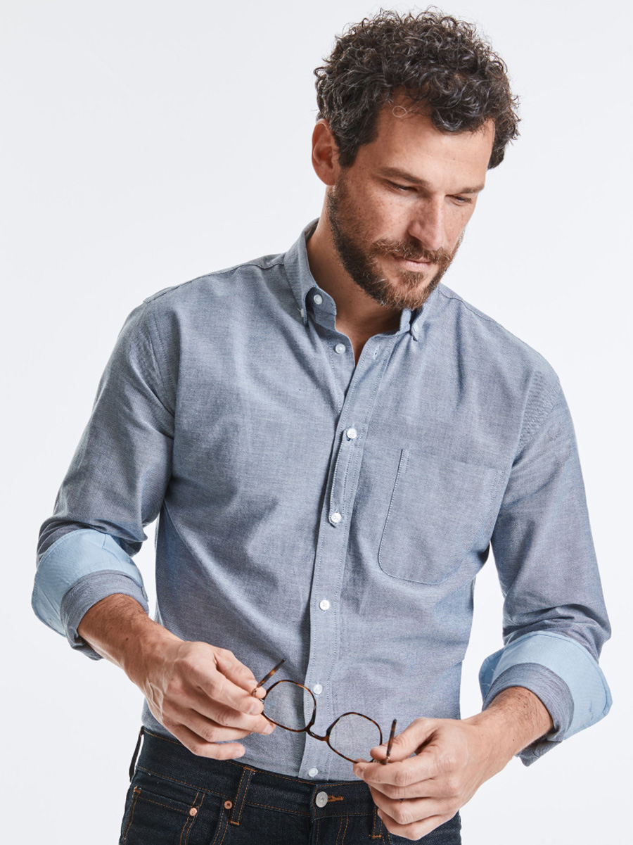 R920M Men's Long Sleeve Tailored Washed Oxford Shirt